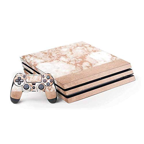 Skinit Decal Gaming Skin for PS4 Pro Console and Controller Bundle - Originally Designed White Rose Gold Marble Design