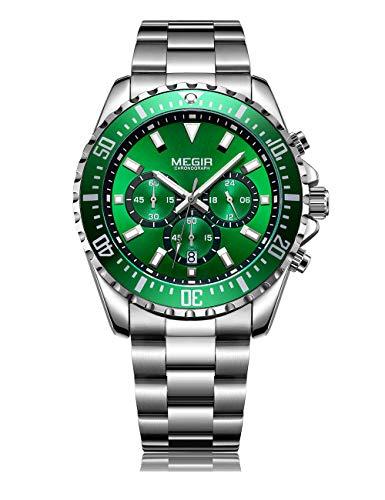 orologio megir MEGIR Orologio Uomo Elegante Orologio Uomo Acciaio Orologio Uomo Verde