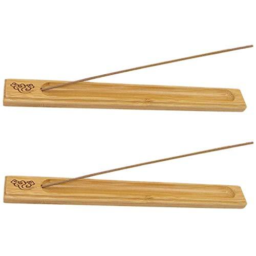 Räucherstäbchenhalter 2 Stück Bambusholz, Räucherstäbchen-Brenner Halter Aschefänger, Holzfarbe