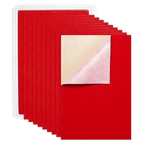 BENECREAT 20PCS Fogli Velluto Adesivo (Rosso) Tessuto Retro Adesivo di Appiccicoso A4(21x30cm) Multiuso,Resistenti all'Acqua Adatto per Mobili Artigianali e Protettivi