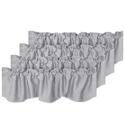 """H.VERSAILTEX 4 Panels Blackout Curtain Valances for Kitchen Windows/Living Room/Bathroom Privacy Protection Rod Pocket Decoration Scalloped Winow Valance Curtains, 52"""" W x 18"""" L, Dove Gray"""