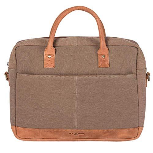 HOLZRICHTER Berlin Tragetasche (M) aus Canvas & Leder - Premium Briefcase für Damen & Herren - Camel-Braun/Beige