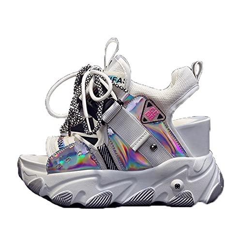 Sandalias de cuña con Plataforma para Mujer Zapatillas de Deporte Informales con Cordones Ligeras y Transpirables para Mujer Sandalias con Punta Abierta y Deportiva para Caminar