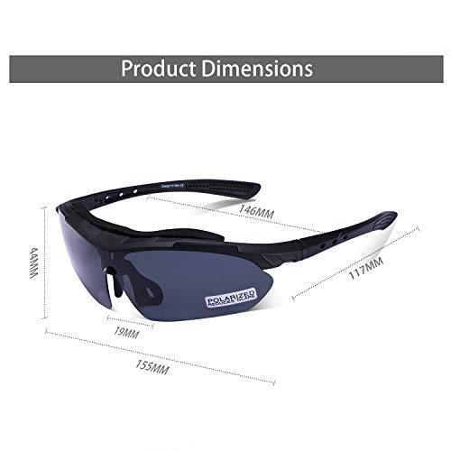 Carfia Multi TR90 UV 400 Outdoor Sport Brille Polarisiert Sonnenbrille Radbrille mit 5 wechselbare Linsen für Skilaufen Golf Radfahren Laufen Angeln Baseball - 7
