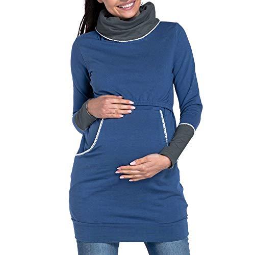 SANFAHSION Sweat Longue de Maternité,Manche Longue de Grossesse Blouse d'allaitement Brassière Top Col Haut Mode Vêtement Slime Shirt Chaud Confortable(Bleu,XXL)
