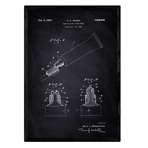 Poster Nacnic patent tandpasta. Blad met oud ontwerp patent A3-formaat met zwarte achtergrond