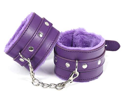 Esposas de cuero puños de pierna bandas de ejercicio para gimnasios de yoga en casa con cadena púrpura