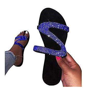 Women Sandals Flat Women Summer Flip Flop Women Rhinestone Owl Sweet Sandals Clip Toe Sandals Beach Shoes 2020