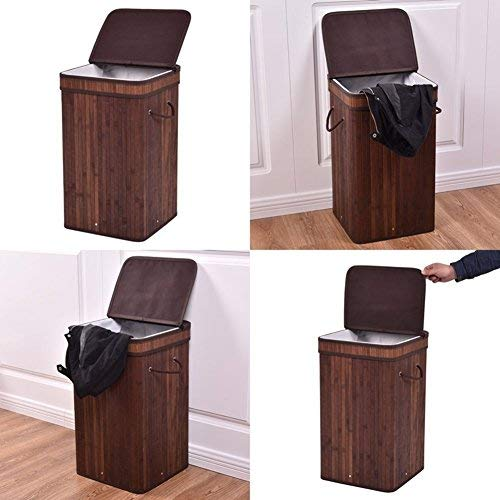 Cesta para la colada Ballino 105Liter plegable. Cesta para la ropa sucia con tapa extraíble y lavable, forro 2colores: marrón claro y oscuro, 62,5x 52x 32cm.