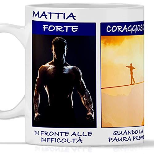 TeeDesign Taza Mattia divertida, apta para desayuno, tés, tisana, café, capuchino. Taza personalizada: idea regalo Mattia fuerte, valiente, humor, extraordinario, original y simpática
