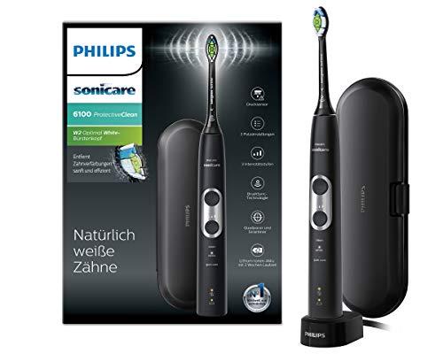 Philips HX6870/53 Protectiveclean 6100 Elektrische Zahnbürste mit Schalltechnologie, Andruckkontrolle, Schwarz