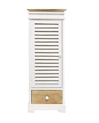 Rebecca Mobili Badezimmerschrank, Allzweckschrank mit 1 Tür 1 Schublade, Paulownienholz, Weiß Beige, Country-Stil – Maße: 87 x 32 x 29 cm (HxLxB) – Art. RE4461