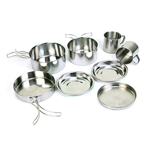 XuCesfs - Batería de cocina para acampada al aire libre de acero inoxidable 8 piezas de utensilios de cocina para montañismo camping portátil 5-6 personas