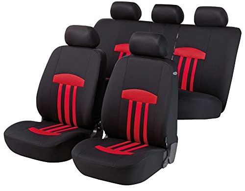 Walser Auto Sitzbezug Kent mit Reißverschluss, Zipp-IT Schonbezüge Auto, Komplettset, 2 Vordersitzbezüge, 1 Rücksitzbezug rot 11779