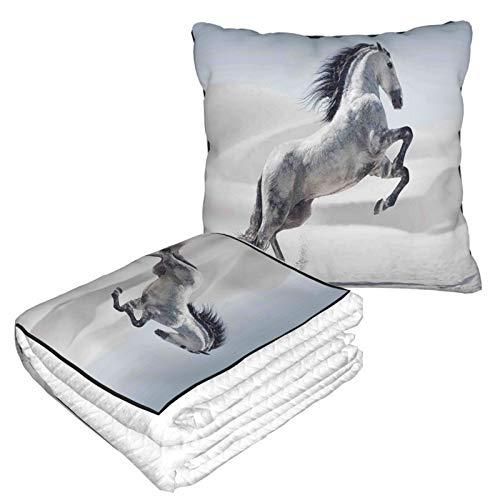 XINGAKA Manta de Viaje súper Suave,Silver Pony Horse al galoppo sul movimento Majestic Wild Animal Power and Grace Theme,Manta Plegable,Almohada cómoda