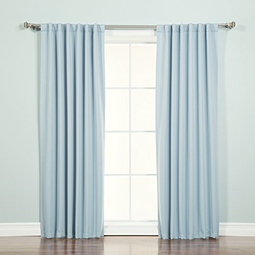 """Best Home Fashion Thermal Insulated Blackout Curtains - Back Tab/Rod Pocket - Sky Blue - 52"""" W x 96"""" L - (Set of 2 Panels)"""