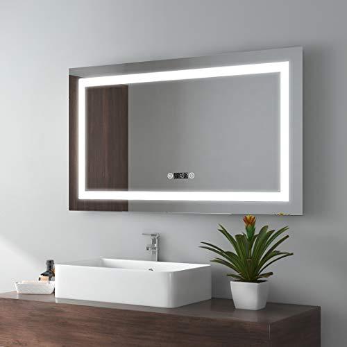 EMKE Espejo de Baño Espejo de baño Espejo LED Espejo de Pared con Interruptor Táctil+Antivaho+Reloj Digital,IP44,52W,Blanco Frío(100x60cm)