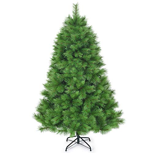 Goplus 6ft Unlit Artificial Christmas Tree, Hinged Pine Tree with Metal Stand, Perfect Xmas Decoration for Indoor and Outdoor
