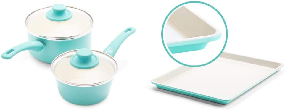 GreenLife lowest price Soft Grip Healthy Ceramic Lid Saucepans with half Nonstick