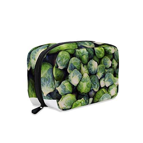 Kosmetiktasche, Make-up-Tasche, Kulturbeutel, tragbare Make-up-Tasche für Frauen, perfekt für Reisen/den täglichen Gebrauch, leuchtend grün, frische Rosenkohl