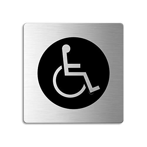 OFFORM Edelstahl Türschild 85x85 mm Piktogramm Rollstuhl WC Dot Nr. 48136
