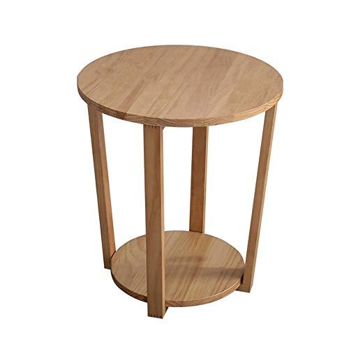 Jcnfa-Tables Table D'appoint, Étagères Canapé Petite Table Table Ronde Table De Chevet, Armoire avec Étagère du Bas De Stockage, 4 Couleurs (Color : Wood Color, Size : 19.68 * 19.68 * 22.44in)