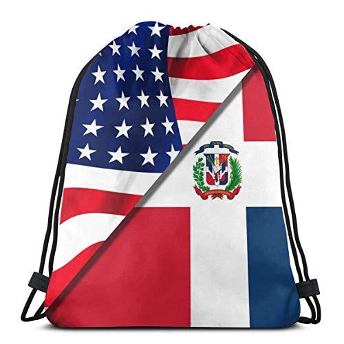U Shape Amerikanische Flagge und Dominikanische Republik Flagge Kordelzug Tasche Mehrzweck Tagesrucksäcke Sporttaschen Lässiger Rucksack für Wandersportreisen