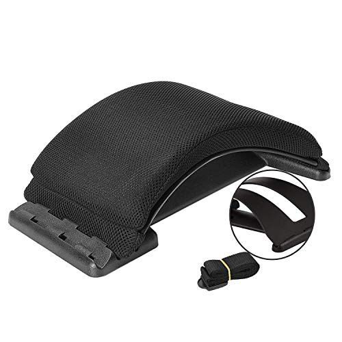Magic Back Support - 2020 Upgrade Multifunction Back Stretching Device Massager and Memory Foam Lumbar Support Pillow for Office Chair , Lower Back Pain Relief