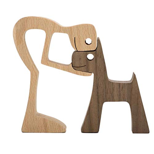 Newest Wooden Figurines Sculpture Ornaments Set, Abstract Style People With Dog Statue Decoration, Friendship between Dog and People Memorials Statue for Home Office Table Bookcase Shelf Decor