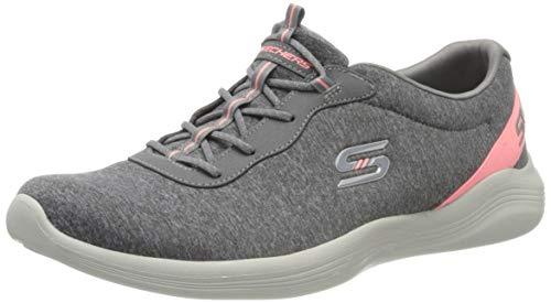 Skechers Envy, Zapatillas Mujer, Gris (Gray Heather Mesh/Gray Durabuck/Coral Trim Gycl), 40 EU