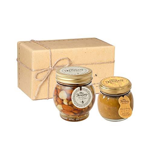 ナッツの蜂蜜漬けL(200g) + ピーナッツハニーM(90g) / ナチュラルクラフトボックス(M) + 麻紐リボン