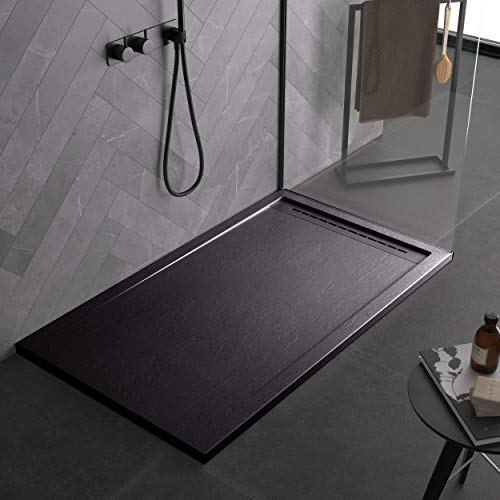 Plato de ducha negro de mineralmármol con efecto pizarra serie Paris Slim 3 cm recubierto de Gelcoat antideslizante (70 x 180)