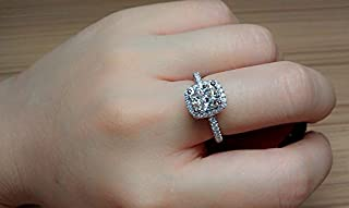 Cutedoumiao Cushion 3ct CZ Engagement Rings for Women Cubic Zirconia Promise Halo Engagement Ring 925 Sterling Silver Solitaire Engagement Ring (9)