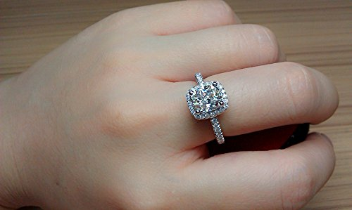 Cutedoumiao Cushion 3ct CZ Engagement Rings for Women Cubic Zirconia Promise Halo Engagement Ring 925 Sterling Silver Solitaire Engagement Ring (8)