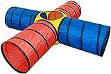 Bieco Kriechtunnel XXL 4-Röhrig ca. 250x 250x 48 cm | Spieltunnel für Kinder | Agility Set Hunde | Tunnel Kinder | Kriechtunnel Kinder | Spielzelt Kinder | Agility Tunnel | Krabbeltunnel ab 1 Jahr