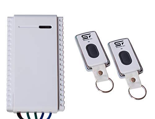 Schartec Mini Universal Funkempfänger Set inkl. 2 Stk. 1-Kanal Handsender 433 MHz für Garagentorantrieb - Funk Sender Empfänger