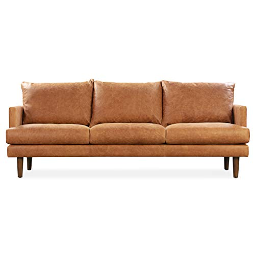 POLY & BARK Girona Sofa in Full-Grain Pure-Aniline Italian Tanned Leather in Cognac Tan