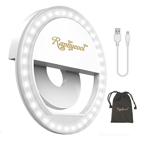 Raphycool Selfie Light Rechargeable Selfie Ring Light 36 Led Circle Light Clip on Cell Phone Compatible with iPhone iPad Samsung Galaxy Phone Photography Camera - White