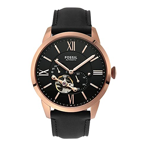 FOSSIL Men's Automatic Analogue Watch analog Display and Leather Strap, ME3170