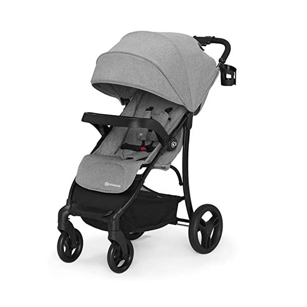 Kinderkraft Lightweight Stroller Cruiser, Baby Pushchair, Foldable, Lying Position, All Wheels Suspension, Big Ajustable Hood, with Accessories, Footmuff, from Birth to 3.5 Years, 0-15 kg, Gray kk KinderKraft STOP&GO BRAKE - Which allows you to quickly lock/unlock the wheels in any type of shoes EASY FOLDING - The stroller can be easily folded or unfolded with just a single move TRAY-SHAPED SEAT HANDLE - Provides perfect space for both playing and feeding. It can be easily detached and washed under running water 1