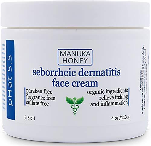 Seborrheic Dermatitis Cream with Manuka Honey, Coconut Oil and Aloe Vera - Moisturizing Face and Body Anti Itch Cream and Skin for Sensitive Skin - Natural & Organic Cream (4 oz)