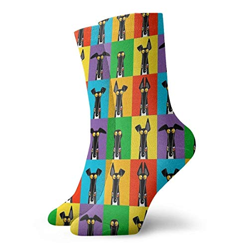 Calcetines de semforo de Greyhound, calcetines cortos deportivos clsicos de 30 cm / 11,8 pulgadas, adecuados para hombres y mujeres, calcetn con lengeta transpirable para correr con amortiguacin