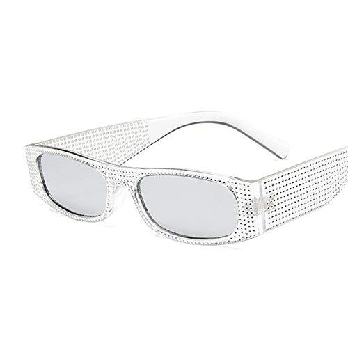 NJJX Gafas De Sol Cuadradas De Moda Para Mujer, Gafas De Sol Rectangulares Retro Vintage Para Mujer, Espejo Rosa, Pequeño Plateado