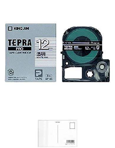 キングジム テープカートリッジ テプラPRO 12mm ST12S 透明 白文字 【× 2 個 】 + 画材屋ドットコム ポストカードA