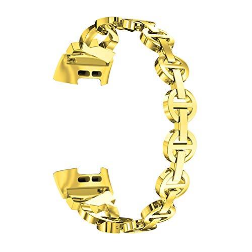 Pulsera Compatible con Charge 3 / Charge 4, Correas De Acero Inoxidable Brazaletes De Metal Band De Repuesto Strap con Purpurina Accesorios De Reloj Compatible con Charge 3/4,Oro