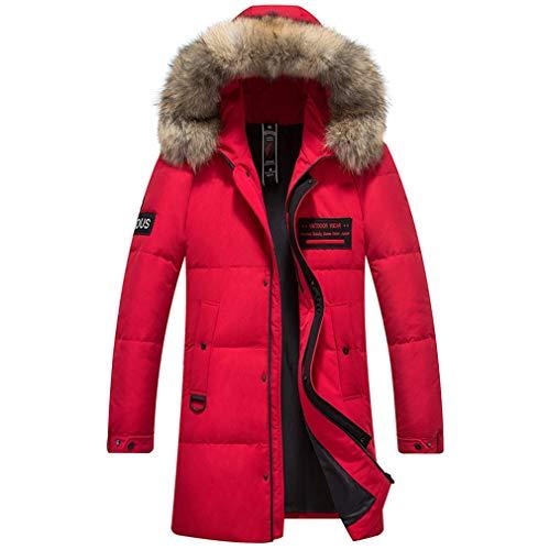 Rayem New Down Jack, Heren Trend Lange Hooded Jas Met Grote Bontkraag, Winter Outdoor Koude Warme Kleding, Geschikt voor Koud Weer