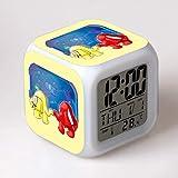 fdgdfgd Juego de Dibujos Animados clásico Reloj Despertador Juguete Despertador luz LED con termómetro Fecha Despertador