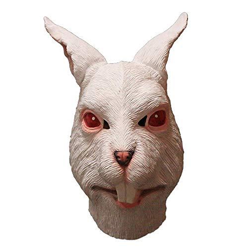 White Rabbit Mask Bunny Animal Head Latex Mask Masquerade Halloween Costume Party Fancy Dress Cosplay Prop …
