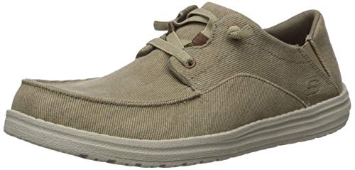 Skechers mens Melson-volgo Canvas Slip on Moccasin, Tan, 11.5 US