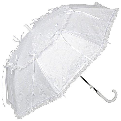 VON LILIENFELD Regenschirm Sonnenschirm Brautschirm Hochzeitsschirm Auf-Automatik Lackleder Optik Spitze Luna weiß